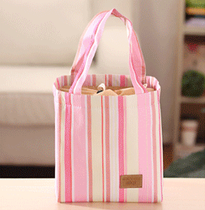 custom Striped beam mouth lunch /picnic thermal insulated cooler bag