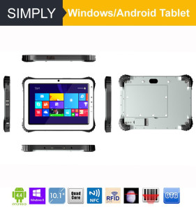 Simply T10 quad core 3G/WIFI/GPS/ ruged tablet pc with windows os ce 2d barcode pad