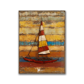 Metal Sailboat Wall Art vintage colorful sailboat pallet wall art painting on metal - buy