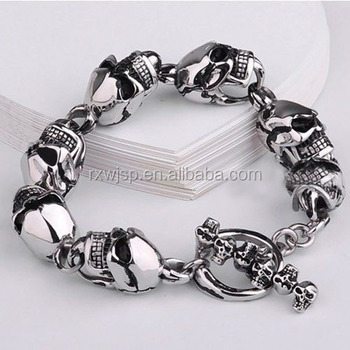 "Hot Selling 8.5"" Mens Shinny Silver 316L Stainless Steel Skull Casting Chain Bangle Bracelet Mnes Gift"