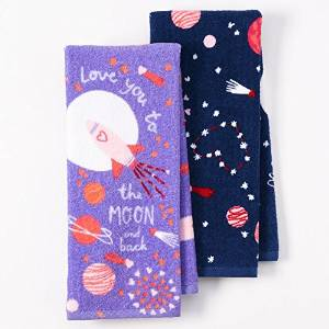 """Happy Valentine's Day Velour Kitchen Dish Towels 2 Pack, """"Love You to the Moon and Back"""""""
