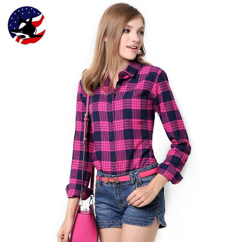 b07d220b4 Get Quotations · Galeoid cotton women's Blouses sanded female long-sleeve plaid  shirt Women 100% cotton Flannel