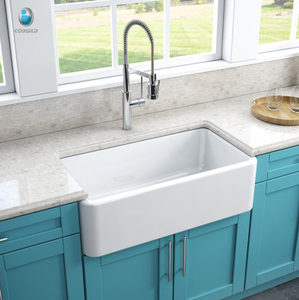 Popular design big size white solid surface kitchen sink