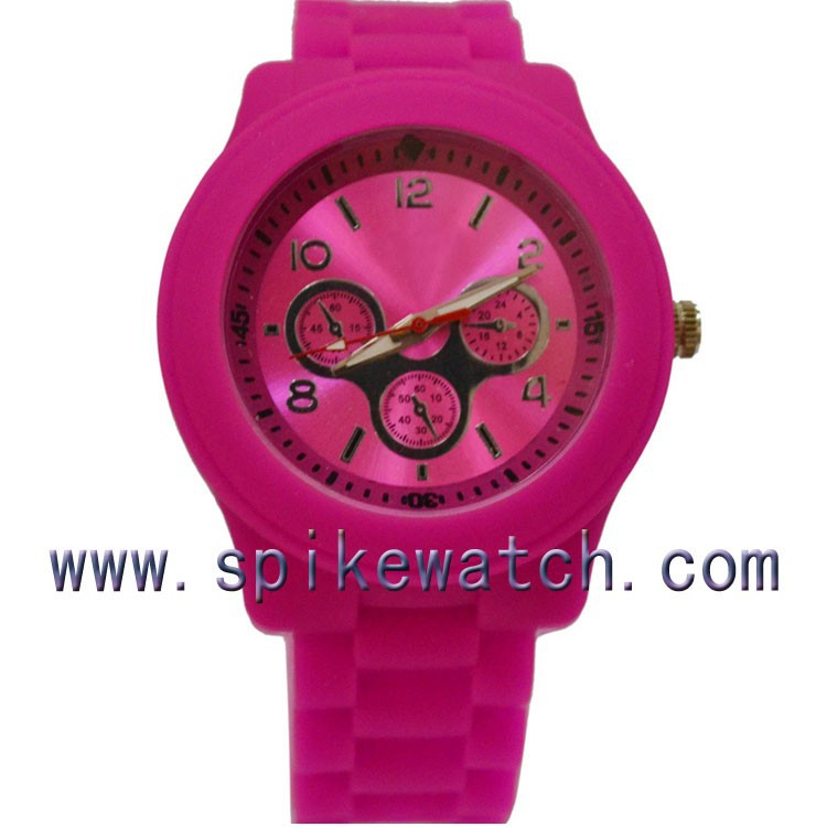 Made in China silicone watch for women rose red color excel quartz price
