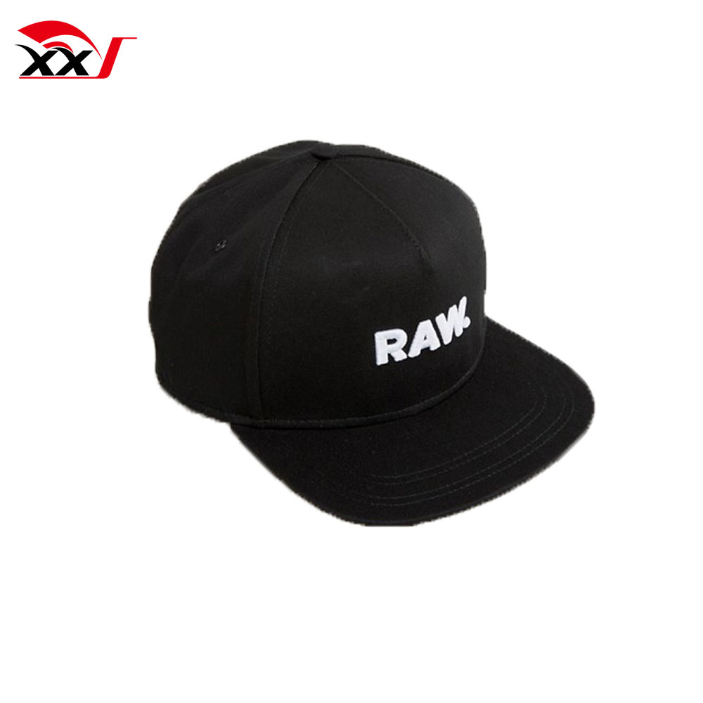 custom snapback caps with embroidered logo black sports 6 panel flat hat wholesale