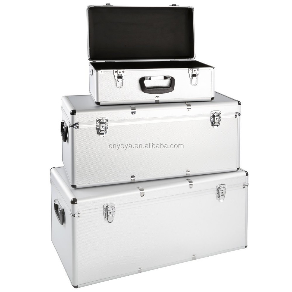 Set Of 3 Aluminium Boxes 26 / 67 / 100 Liters Portable Toolbox Transport  Case Storage