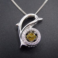 New Products Solid 925 Sterling Silver Yellow Cz Charms Pendants Dancing Diamond Pendants Wholesale Jewelry DR032475P-3.5g