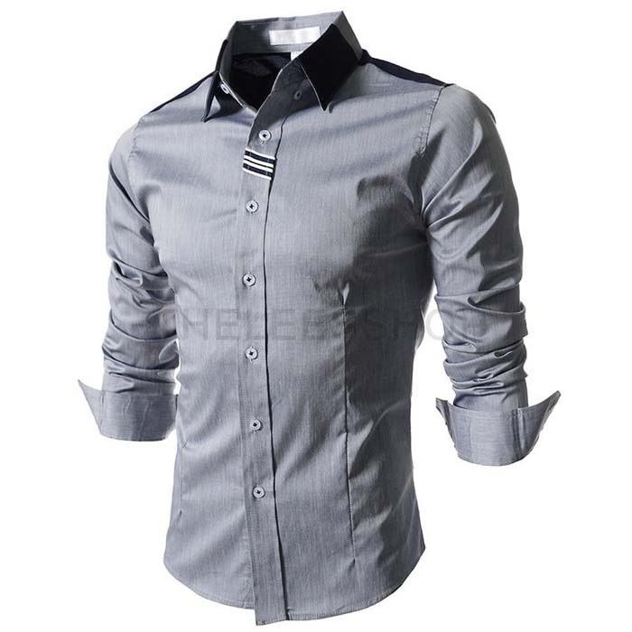 d79adbf0113 Get Quotations · 2015 Summer Spell Color Mens Designer Clothes  Characteristic Patchwork Chemise Men White/Grey Fashion Social
