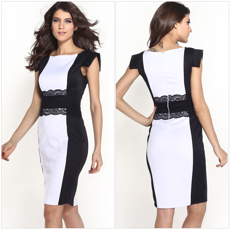 28ac70cd4 Get Quotations · New Year Dress Casual Knee-length Tights Dress Fashions  Black And White Patchwork Dress Women