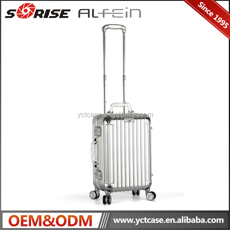 New professional aluminum luggage case travelling case with trolley with GPS