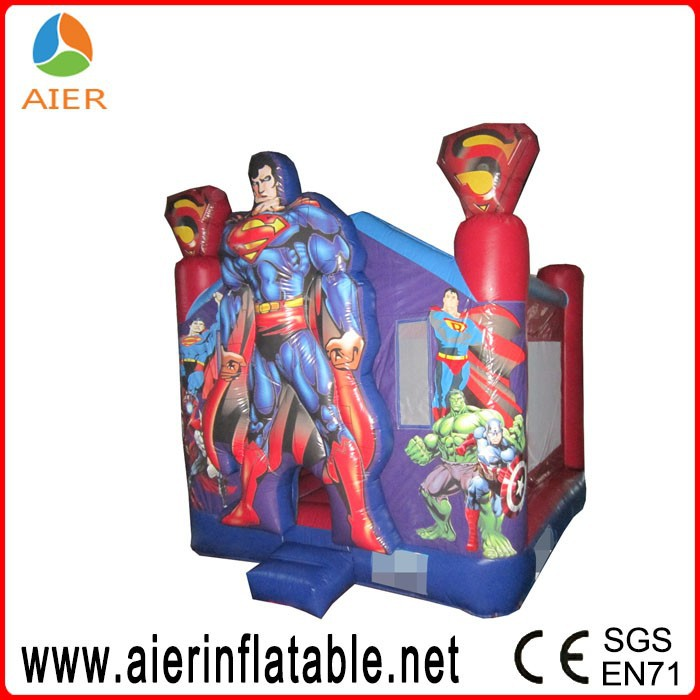 Inflatable jumping bouncer, super man cartoon inflatable fun house