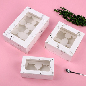 4 6 Holes Kraft Brown White Cup Cake Packaging Cupcake Boxes With Clear Windows
