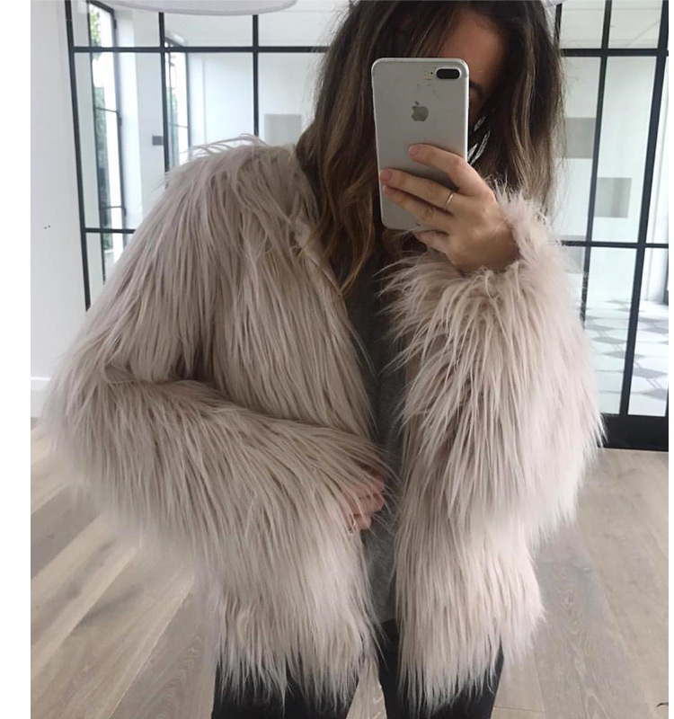 Pink fox fur coat lovely girl full length faux minks coats with best price