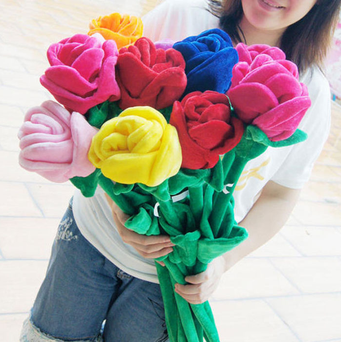 Valentine's Day Cheap Wholesale Colorful Plush Rose Flower