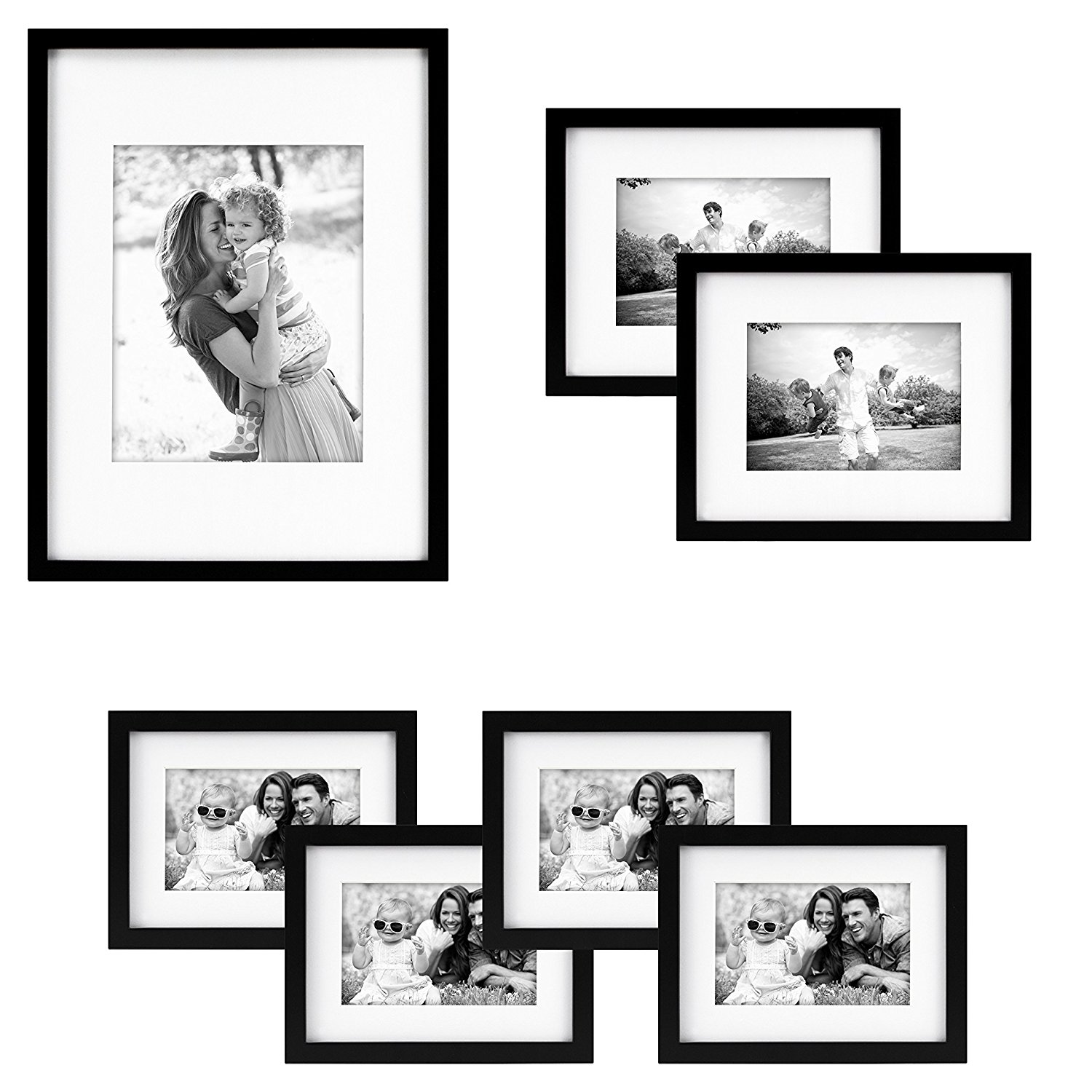 MCS Gallery Wood 7-Piece Frame Set, Black (65735)