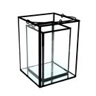New modern rustic black iron glass pillar candle lantern standing holder lamp home metal hanging decoration S/L