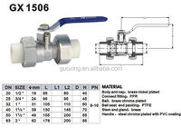 ppr double union brass ball valve two way for water