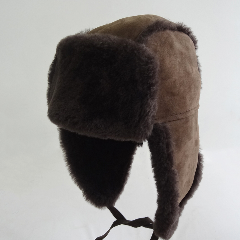 Hat from Black Mink fur and real velor suede Hat with earflaps Russian Fur Men/'s