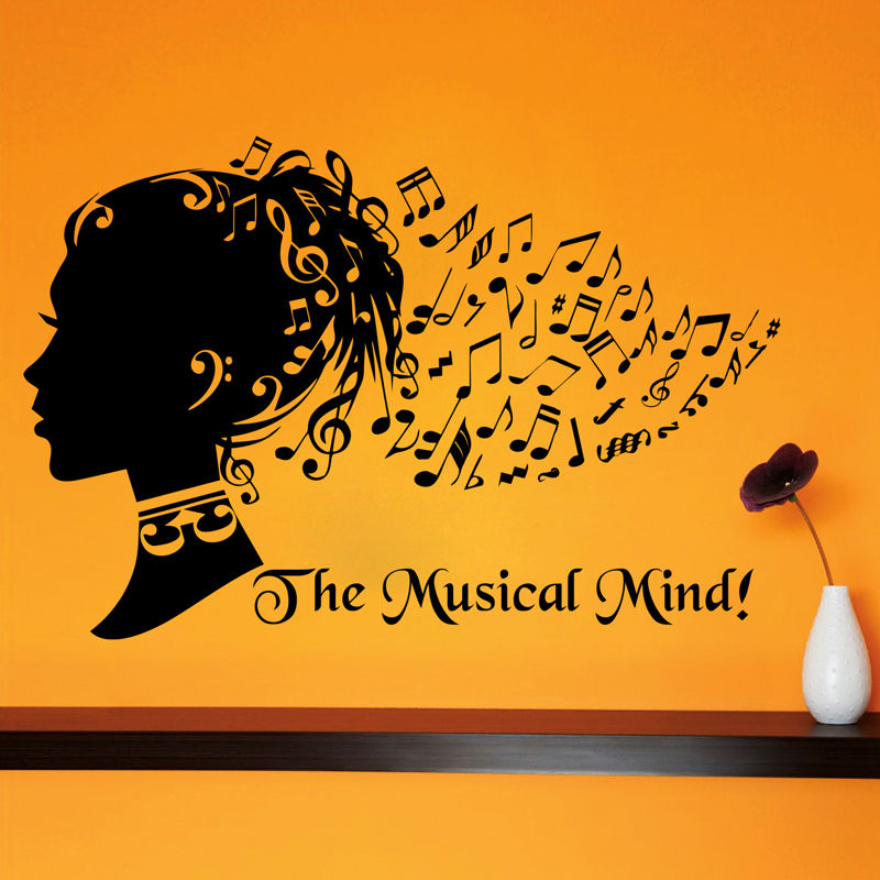 The Musical Mind Art Musical Note Hair Girl Wall Sticker Creative Home Decor Vinyl Removable DIY Wall Decals