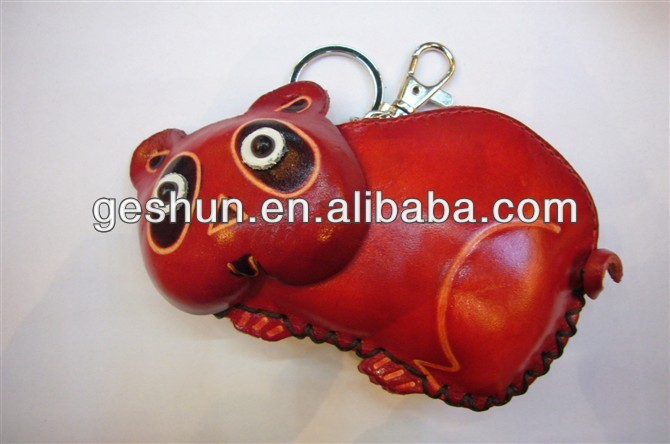 bear Top quality genuine leather coin purse with customized logos