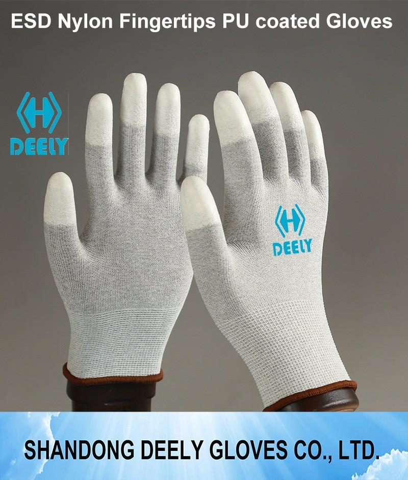 13g Nylon Pu Coated Finger Gloves With Ce Certificate En 388