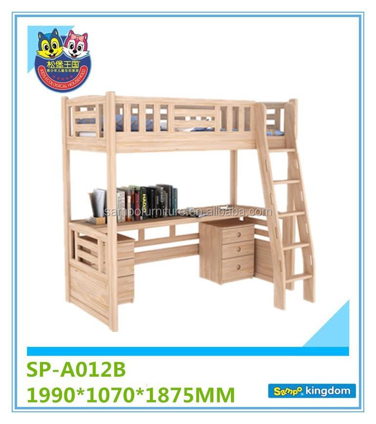madera maciza de alta cama litera con escritorio debajo