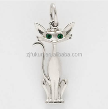 Plus récent Chat Siamois Charme Belle Pierres Vertes Yeux Dos Creux <span class=keywords><strong>Pendentif</strong></span>