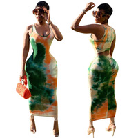Explosion models foreign trade Europe and America sexy tie-dye dress
