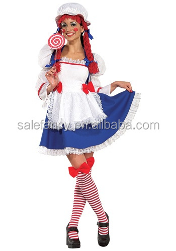 Cheap wholesale woman halloween cosplay rag doll costume QAWC-5816