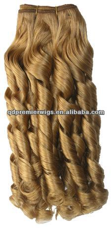 Indian Remy Hair 18#Color Spiral Wave Machine made Weft