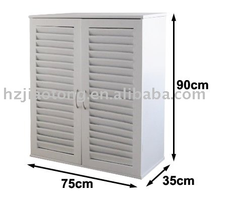 Louvered Door White Shoe Cabinet Kd Style - Buy Shoe Cabinet,White ...