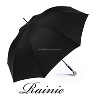 blunt classic strong windproof big size custom pattern print umbrella with ancient noble silver lion head stick handle