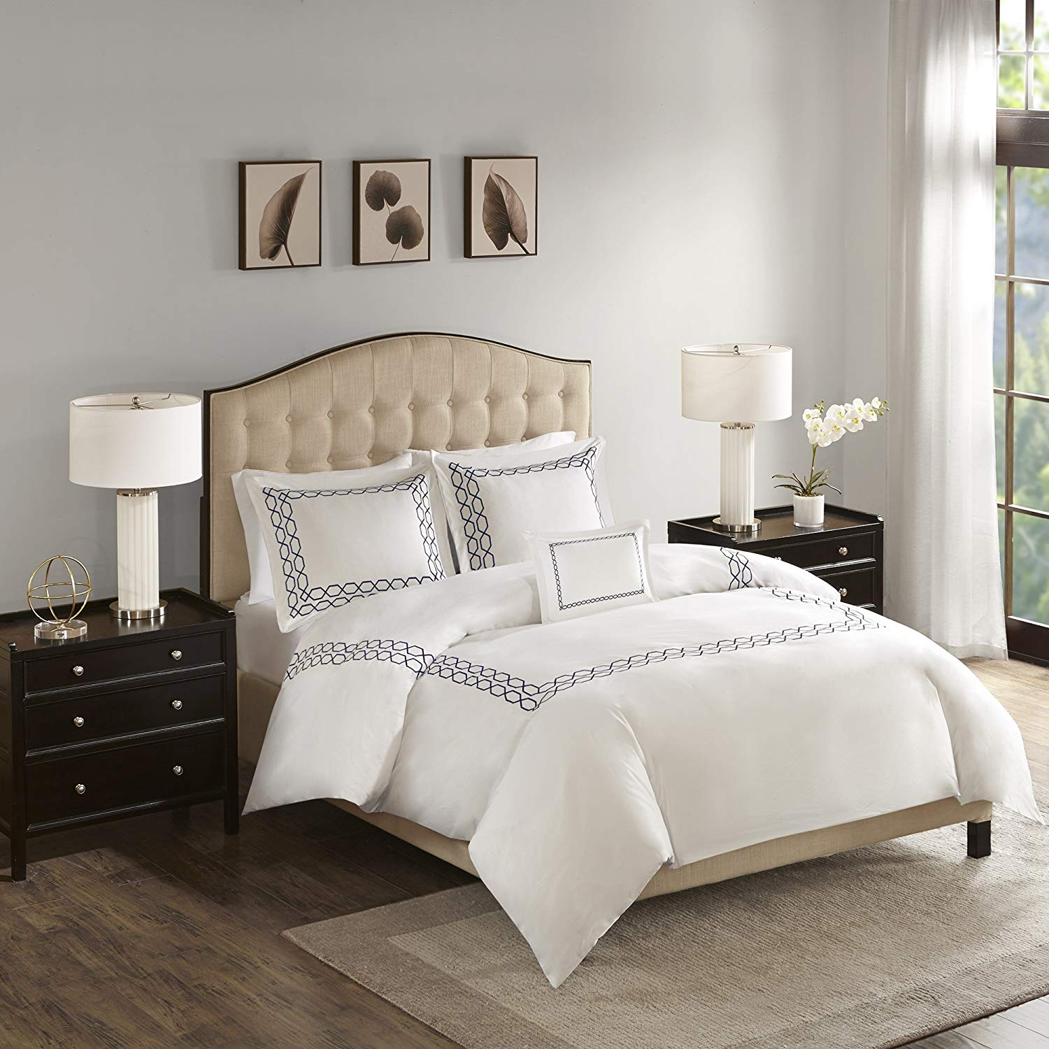Get Quotations Madison Park Luxury Oversized 1000 Thread Count Embroidered Cotton Sa Comforter Set Navy Full Queen