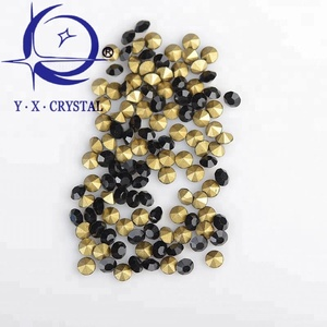 YUXING CRYSTAL Wholesale Great Quality Point Back Jet Rhinestones For Home Decoration