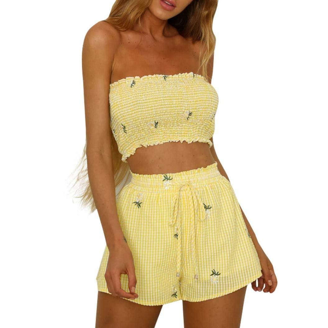 12d71fd42c37c Women Teen Girls 2Pcs Cute Floral Off Shoulder Vest Crop Tops + Hot Shorts