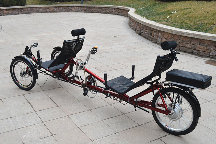 Motorized 2 riders tandem recumbent tricycle buy tandem for Recumbent bike with electric motor