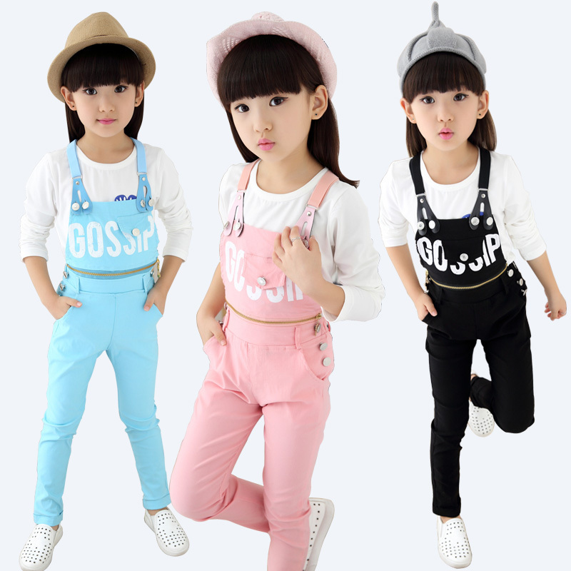 35d892a0cd5f3 Get Quotations · 5-13T Coverall Jeans + Long Sleeve T-shirt for Girls  Clothes Set Wear