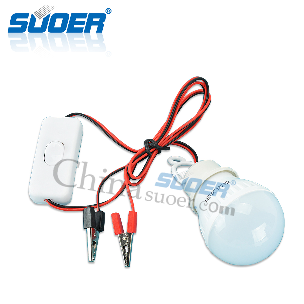 Suoer 3W LED Light Bulb High Power LED Bulb with Power Switch and Connecting Wire