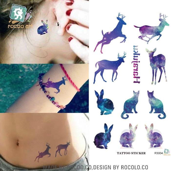 R3004 Disposable Waterproof 3d Tattoo Sticker Color Runs Elk Pattern Temporary Tattoo Stickers Flash Fake Tattoo