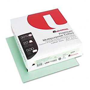 Universal : Premium Color Copy/Laser Paper, Green, 20lb, Letter, 500 Sheets -:- Sold as 2 Packs of - 500 - / - Total of 1000 Each