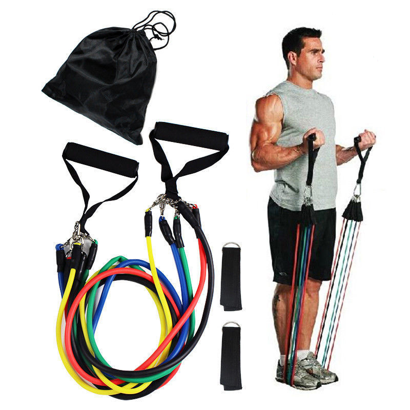 11pcs/set Fitness Equipment Pilates Tubes,Elastic Bands Gym Workout Resistance Bands