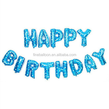 2017 New design 16 inch happy birthday alphabet letter balloons for party decoration