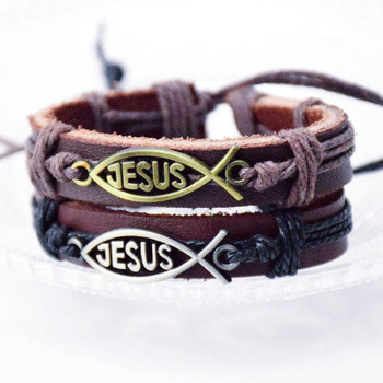 New simple stainless steel christian leather jesus fish bracelet
