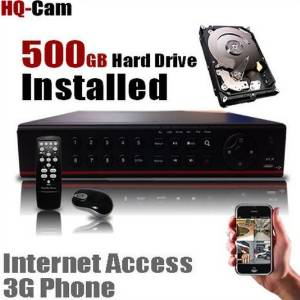 HQ-Cam 4 CH Channel Security Camera Network DVR With 500GB Hard Drive Installed Pre-installed - Real Time 3G Mobile