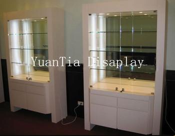 Glazen Wand Vitrinekast.Multifunctionele Glazen Wand Optische Vitrines Wit Houten