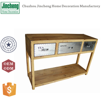 Plywood and galvanized modern wooden console table with 3 drawers