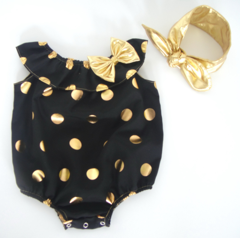 33898858b326 Get Quotations · 3set/lot 2015 new designs cotton gold dot romper with  headband set for baby girls