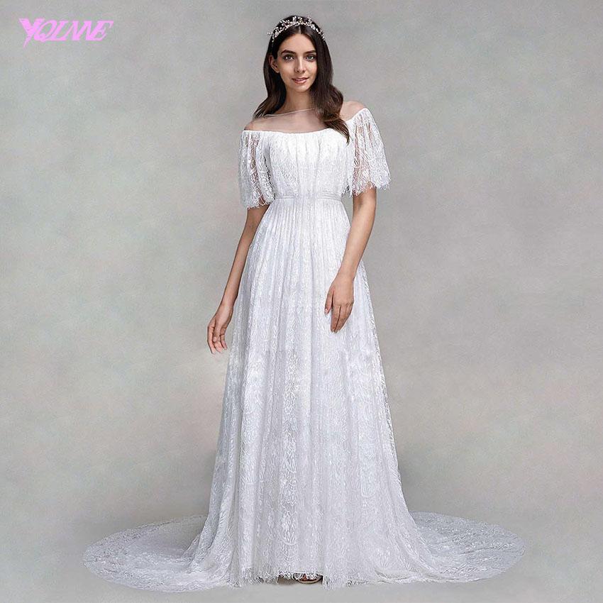 Yqlanbridal Romantic Boho Beach Sheer White Lace Bridal Gown Wedding ...
