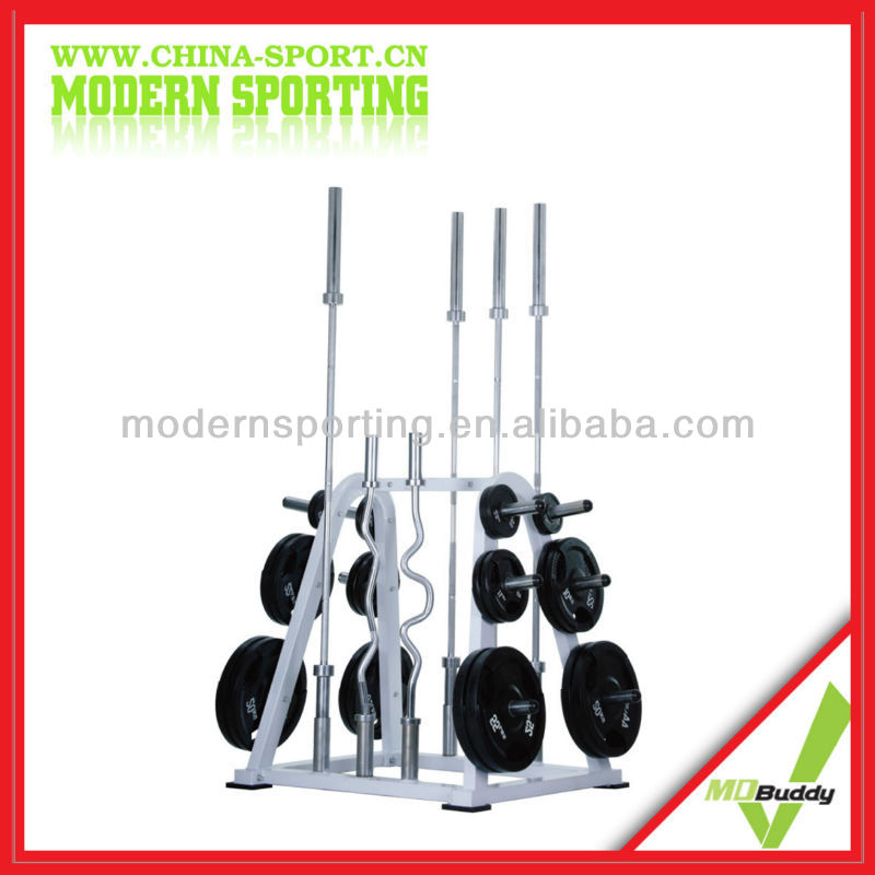 Fitness Gym White Rack For Bar And OP Plate