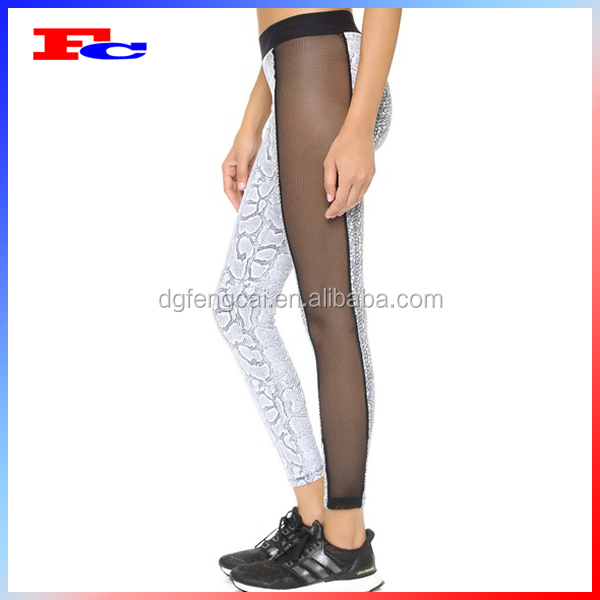 Sexy Mesh Panel Yoga Pants Wholesale Custom Printed Women Workout ...